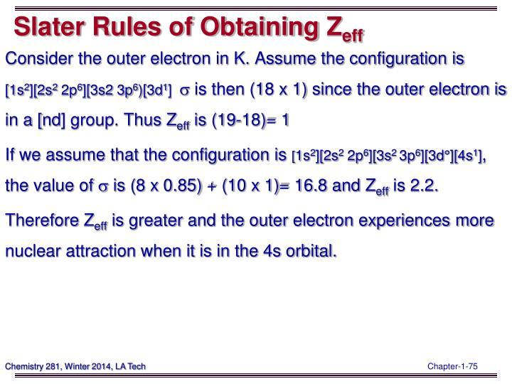 Slater Rules of Obtaining