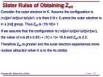 slater rules of obtaining z eff1