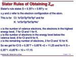 slater rules of obtaining z eff2