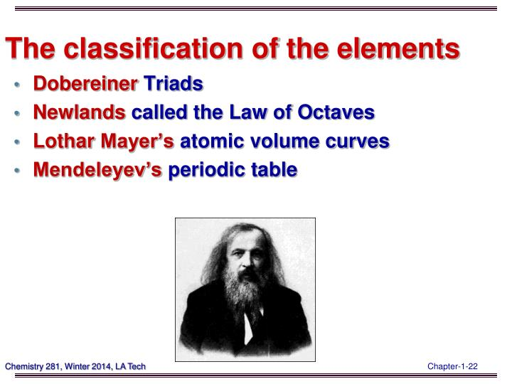 The classification of the elements
