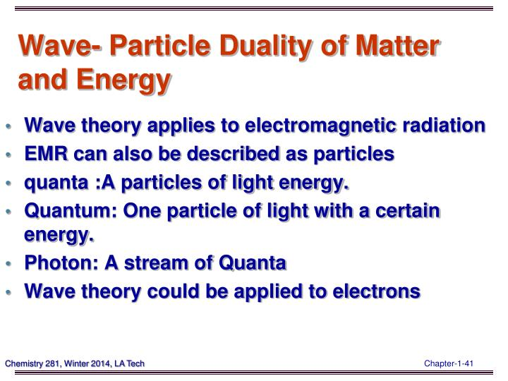 Wave- Particle Duality of Matter and Energy