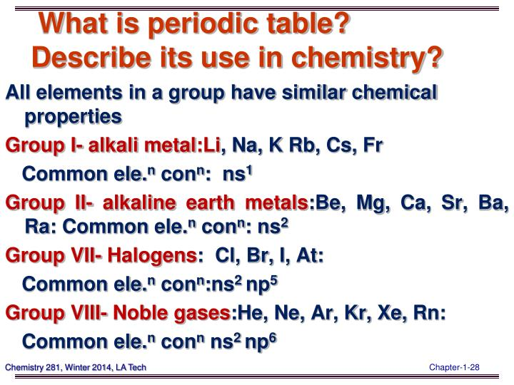 What is periodic table?