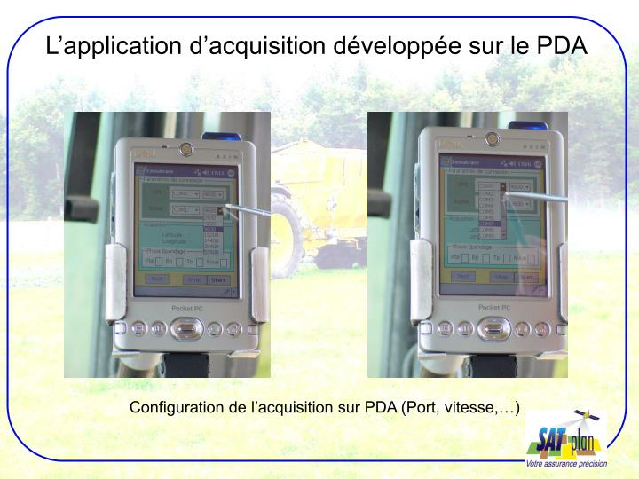 L'application d'acquisition développée sur le PDA