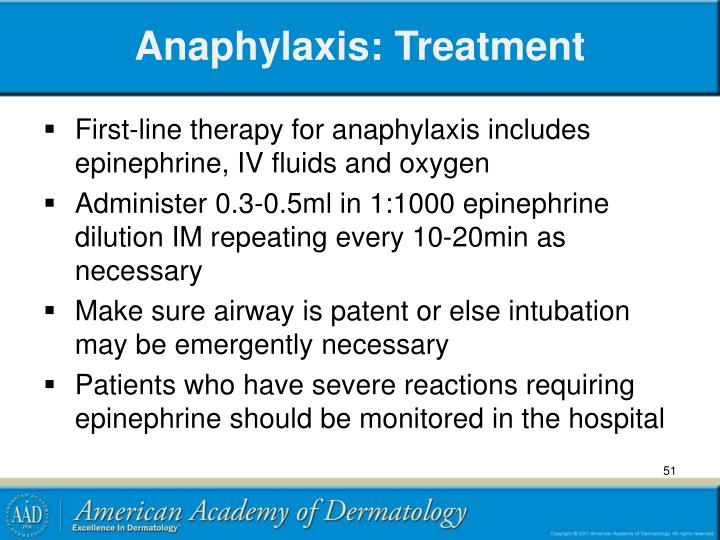Anaphylaxis: Treatment