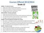 courses offered 2013 20142