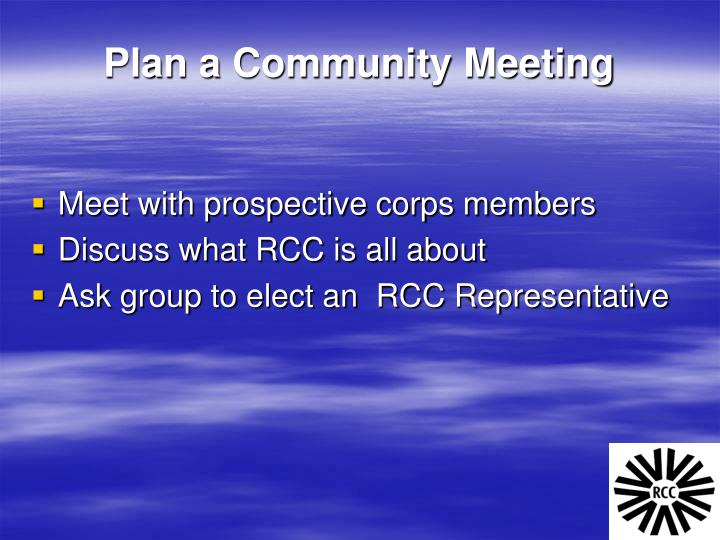Plan a Community Meeting