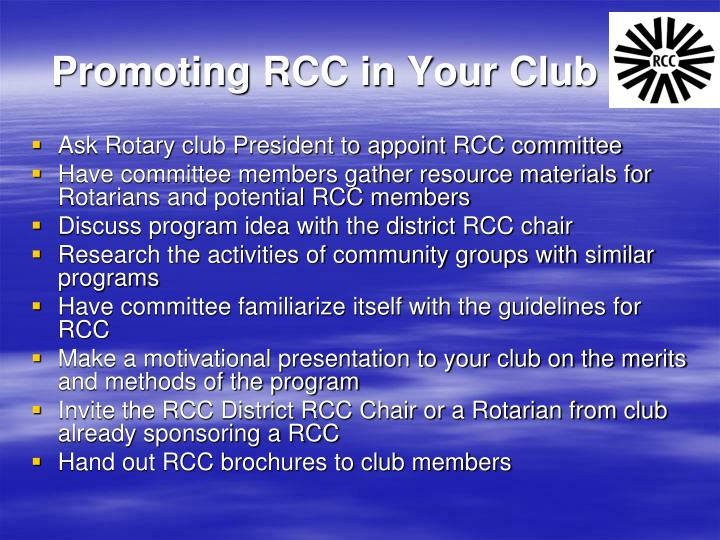 Promoting RCC in Your Club