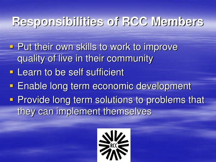 Responsibilities of RCC Members
