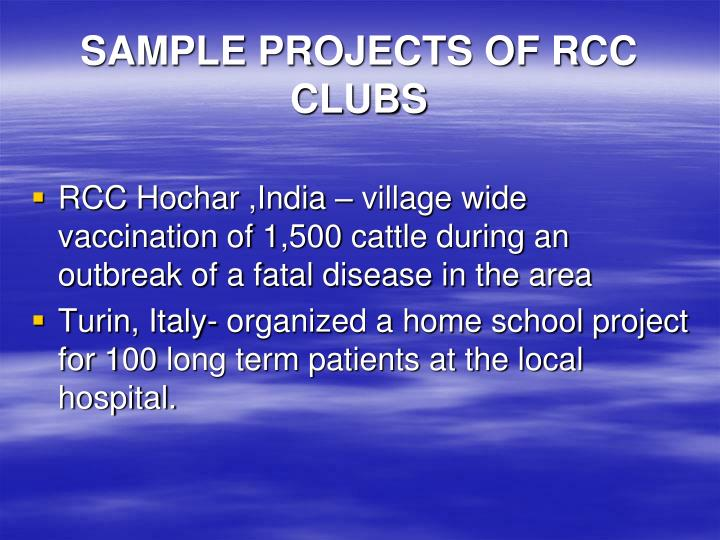 SAMPLE PROJECTS OF RCC CLUBS