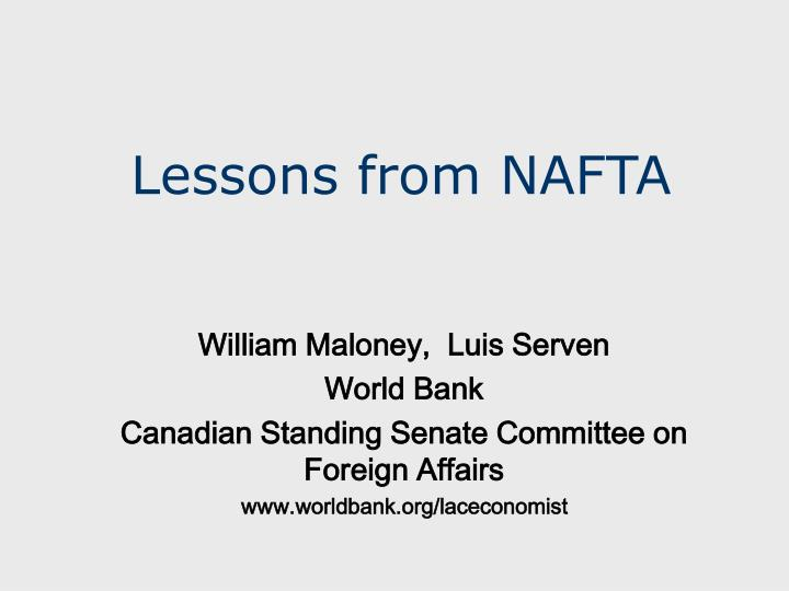 Lessons from nafta
