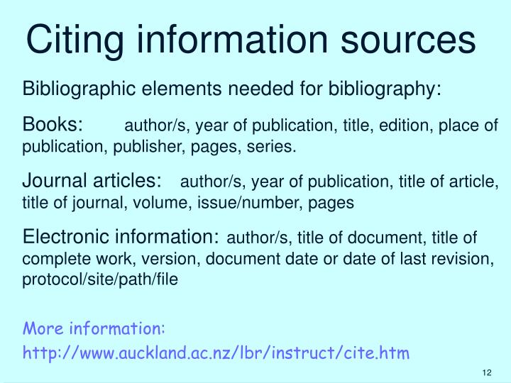 Citing information sources