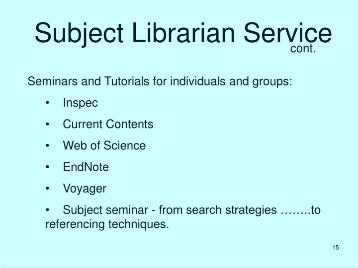Subject Librarian Service