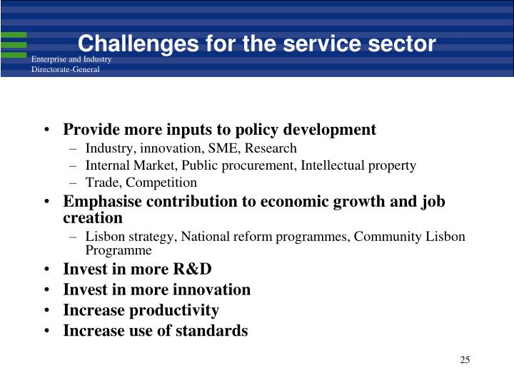 Challenges for the service sector