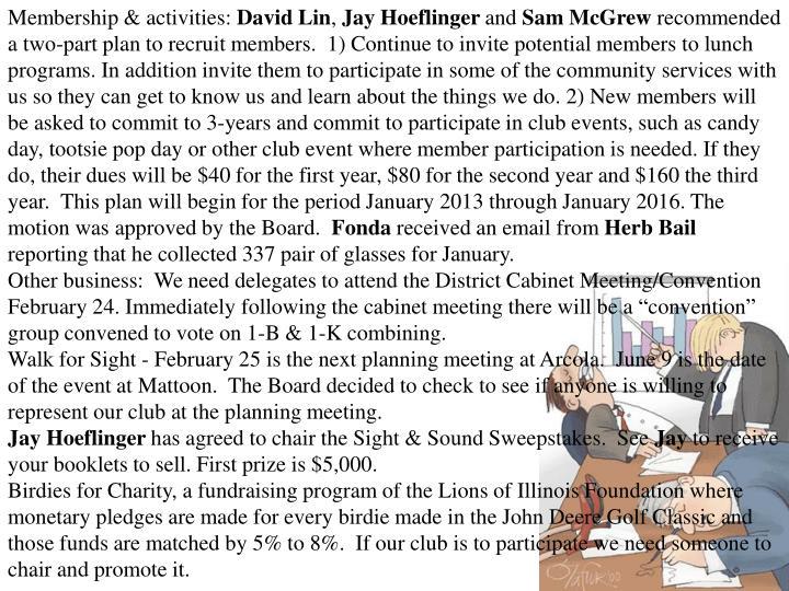 Membership & activities: