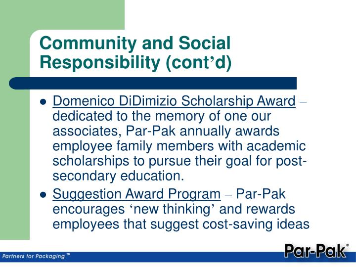 Community and Social Responsibility (cont