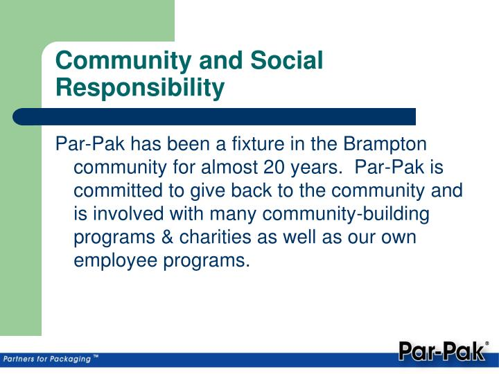 Community and Social Responsibility