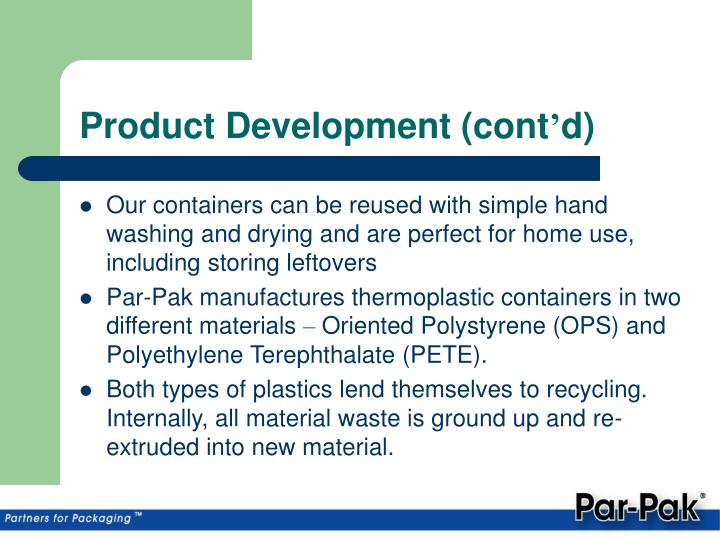 Product Development (cont