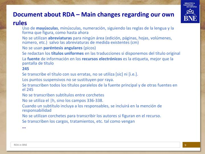 Document about RDA – Main changes regarding our own rules