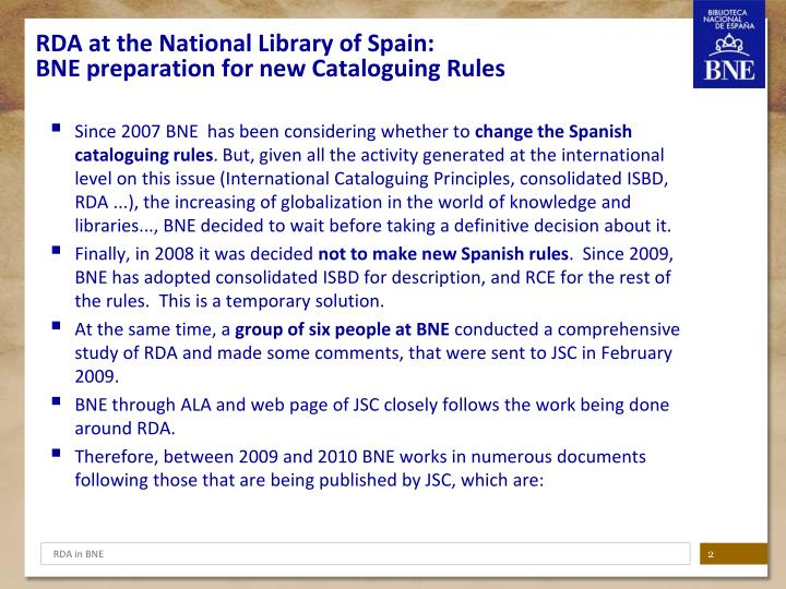 RDA at the National Library of Spain: