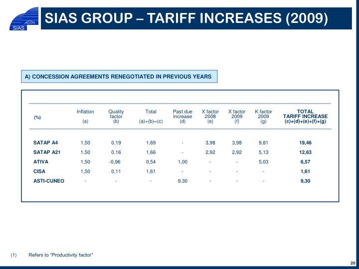 SIAS GROUP – TARIFF INCREASES (2009)