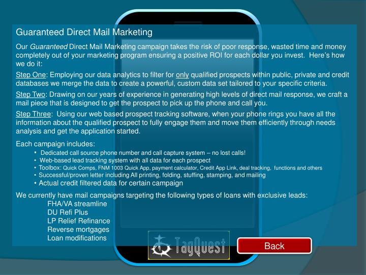 Guaranteed Direct Mail Marketing