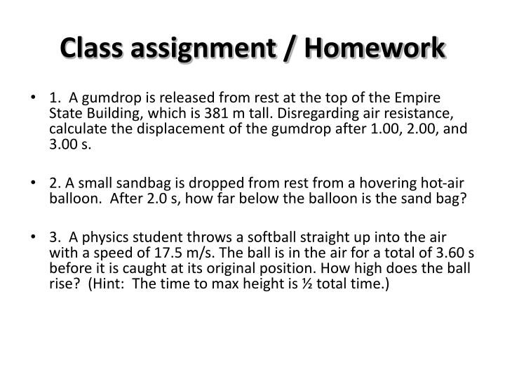 Class assignment / Homework