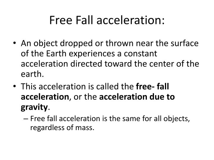 Free fall acceleration