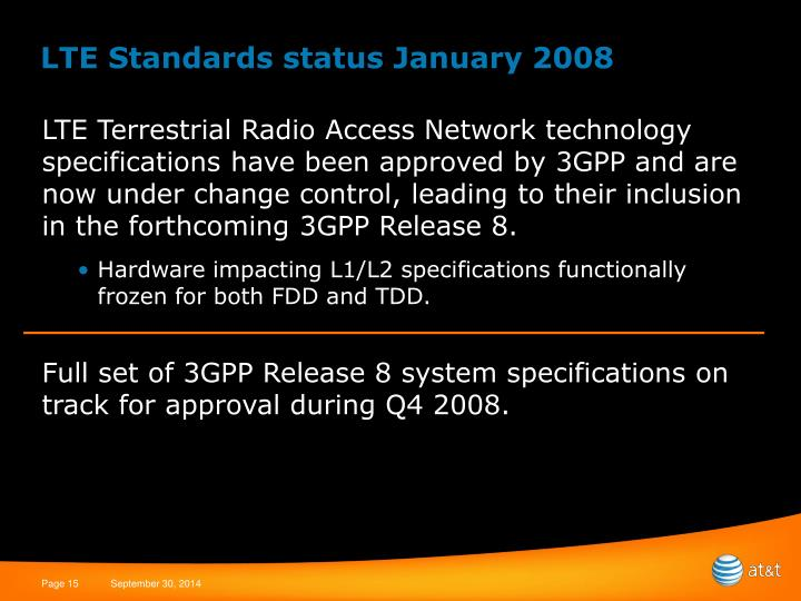 LTE Standards status January 2008