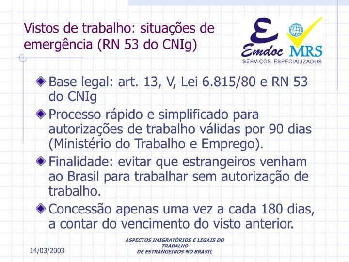 Vistos de trabalho: situações de emergência (RN 53 do CNIg)