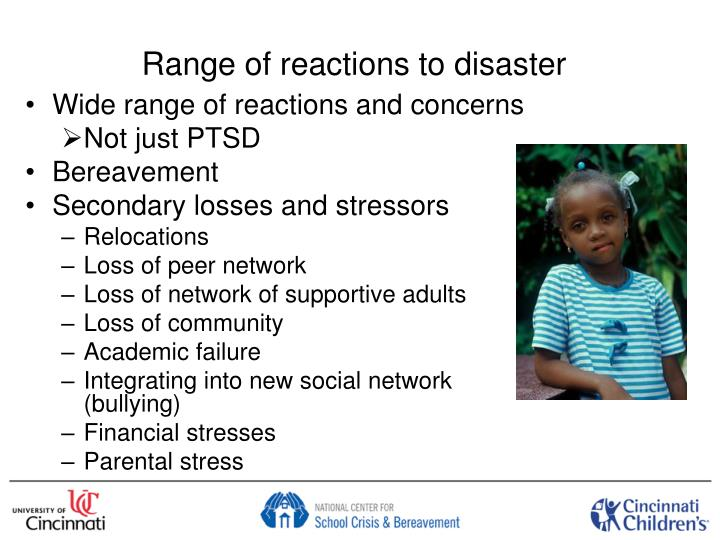 Range of reactions to disaster