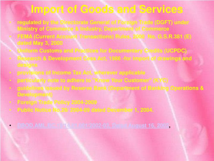 Import of goods and services1