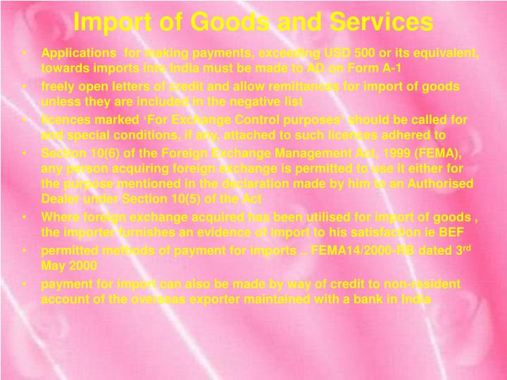 Import of goods and services2