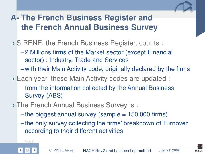 A the french business register and the french annual business survey