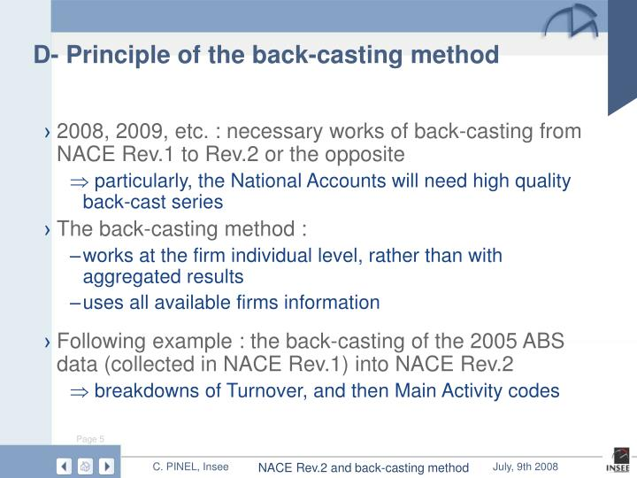 D- Principle of the back-casting method