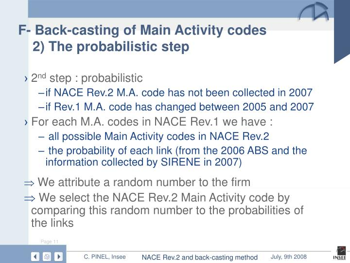 F- Back-casting of Main Activity codes