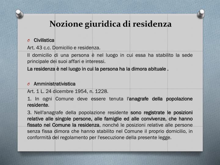 Nozione giuridica di residenza