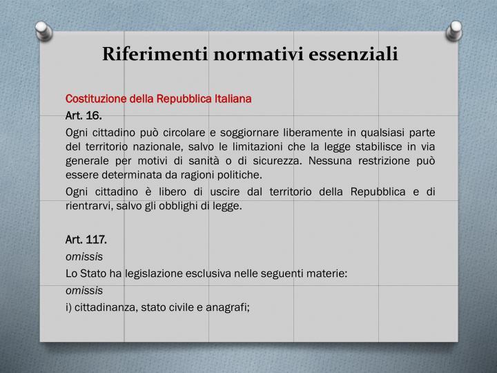 Riferimenti normativi essenziali