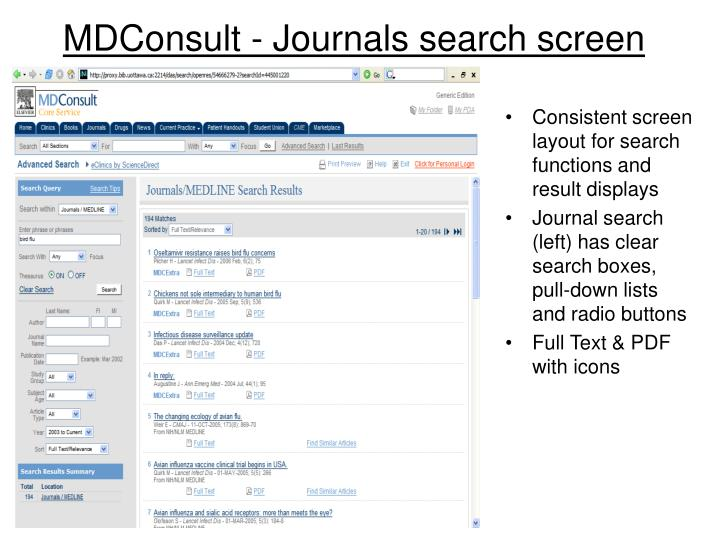 Consistent screen layout for search functions and result displays
