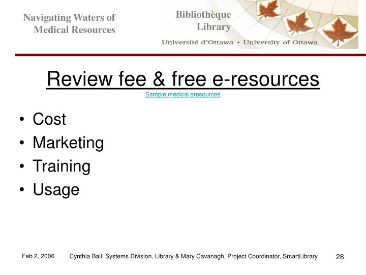 Review fee & free e-resources