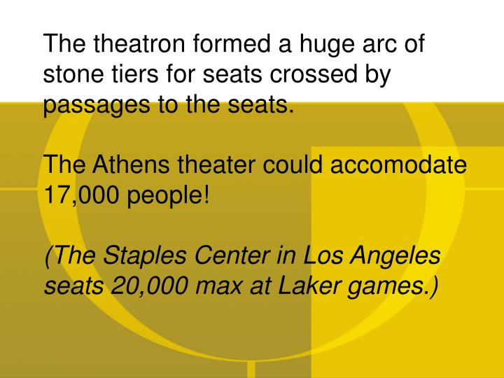 The theatron formed a huge arc of stone tiers for seats crossed by passages to the seats.