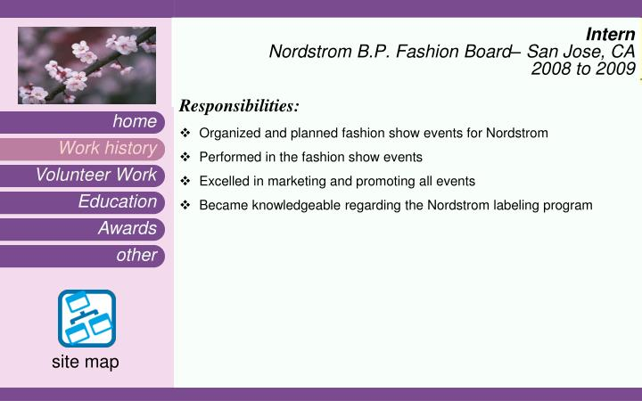 Intern nordstrom b p fashion board san jose ca 2008 to 2009
