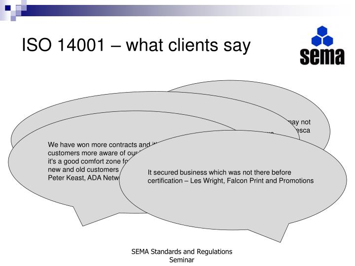 ISO 14001 – what clients say