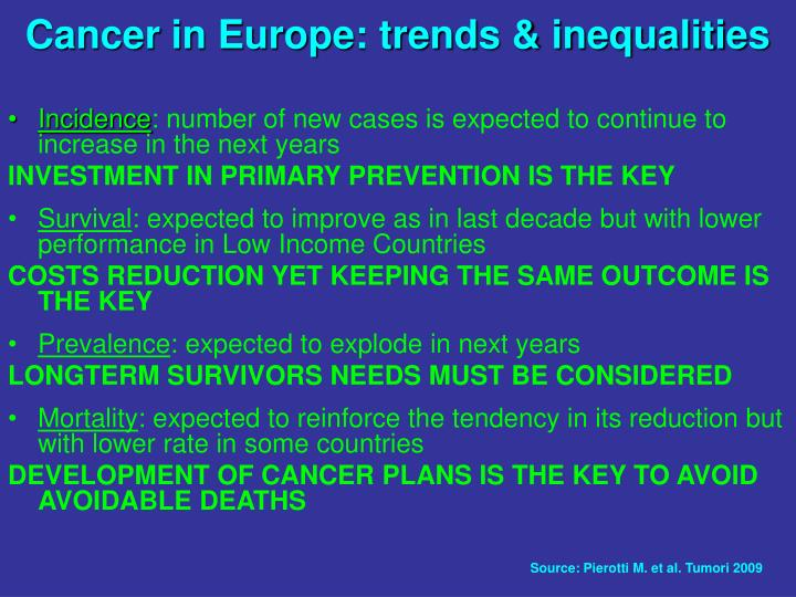 Cancer in Europe: trends & inequalities