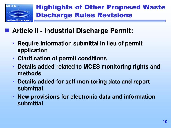 Highlights of Other Proposed Waste Discharge Rules Revisions
