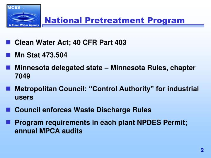 National Pretreatment Program