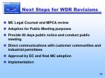 next steps for wdr revisions