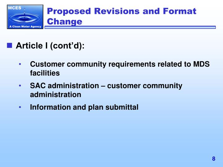 Proposed Revisions and Format Change