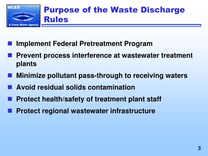 Purpose of the Waste Discharge Rules