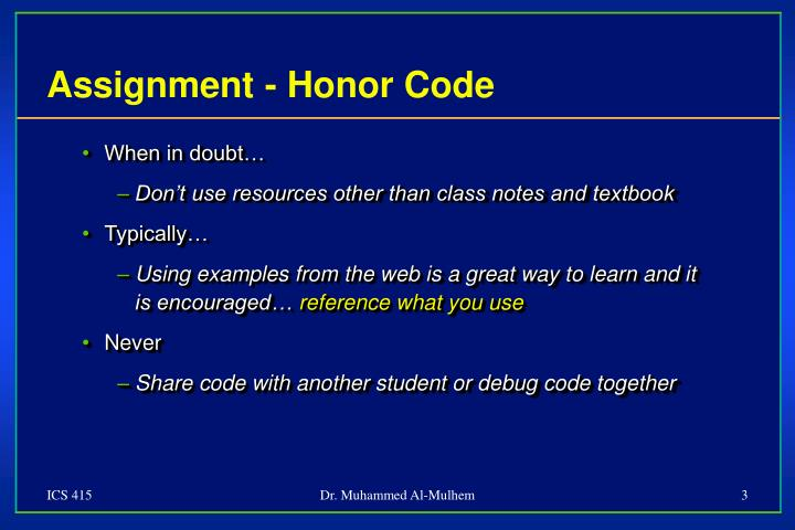 Assignment - Honor Code