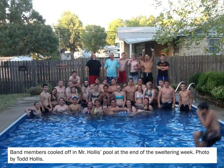 Band members cooled off in Mr. Hollis' pool at the end of the sweltering week. Photo by Todd Hollis.